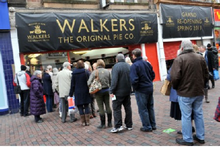 Pork pies by Walker & Son are now back in Cheapside, Leicester