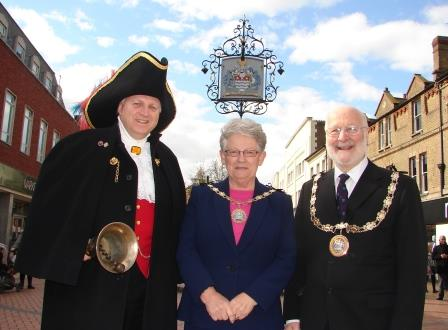 Chelmsford City Crier with the Mayor and Mayoress of Chelmsford Councillor Christopher Kingsley and Mrs Marion Kingsley