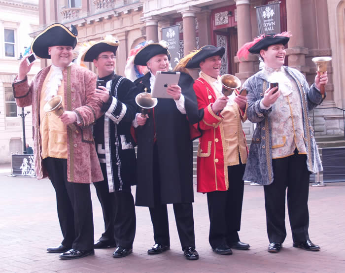 Part of our team of town criers from The English Toastmasters Association working in Ipswich on Wednesday 10th April 2013 to launch a new App for All About Ipswich.