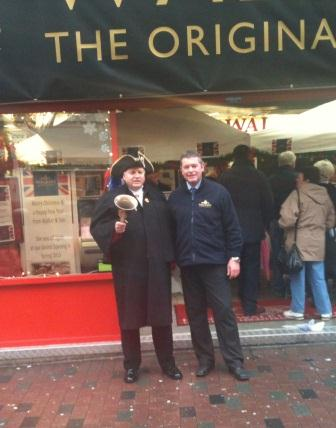 Leicester Town Crier with Mark Birch from the original pie company Walker & Son